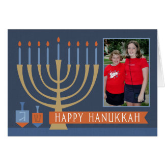 Hanukkah Lights Greeting Card with Photo