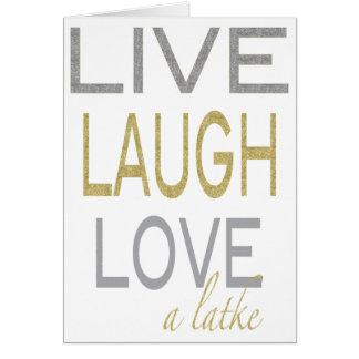 "Hanukkah ""Live Laugh Love a latke"" Glitzy Card"