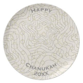 """Hanukkah Melamine/""""Dreidels & Stars"""" Plate 10"""""""