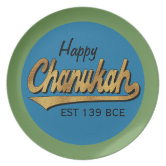 "Hanukkah Melamine/""Retro Happy Chanukah"" Plate 10"""