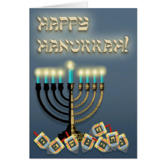 Hanukkah Menorah and Dreidels Card