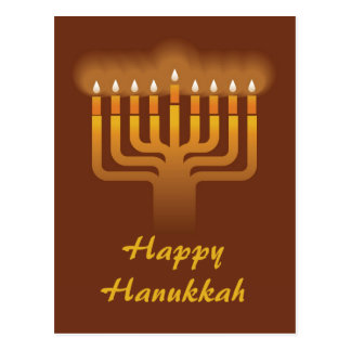 Hanukkah menorah background postcard