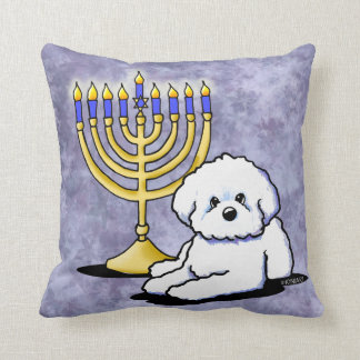 Hanukkah Menorah Bichon Throw Pillow