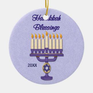 Hanukkah Menorah Blessings Round Ceramic Ornament