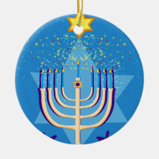 hanukkah menorah ceramic ornament