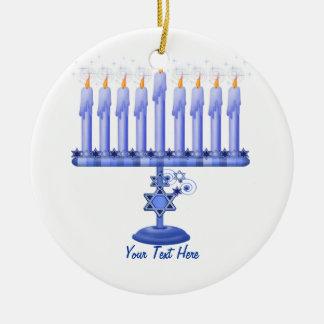 Hanukkah Menorah (customizable) Ceramic Ornament