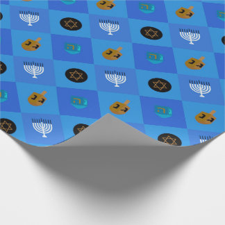 Hanukkah Menorah Dreidels star Wrapping Paper