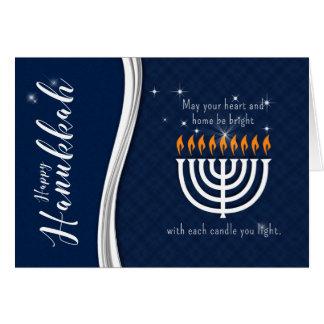 Hanukkah Menorah in Blue and White Modern Theme Card