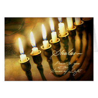 Hanukkah Menorah Lights Shalom, Peace to You Card
