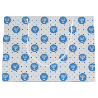 Hanukkah  Menorah on Polka Dots Large Gift Bag