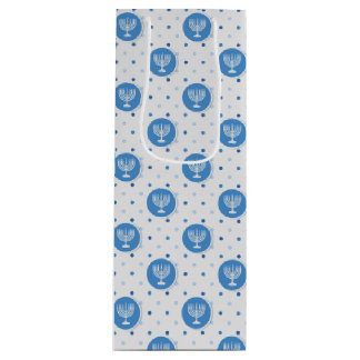 Hanukkah  Menorah on Polka Dots Wine Gift Bag