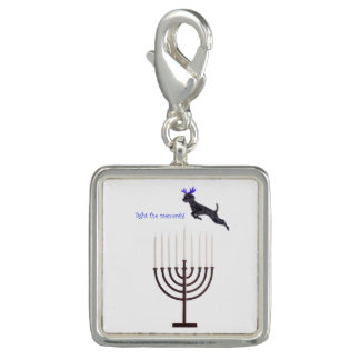 Hanukkah Menorah Poodle Dog Reindeer Candles Charm