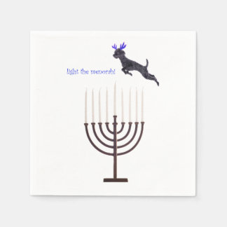 Hanukkah Menorah Poodle Dog Reindeer Candles Paper Napkins