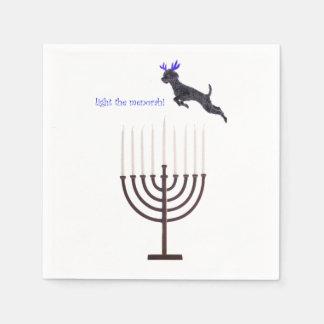 Hanukkah Menorah Poodle Dog Reindeer Candles Paper Napkins