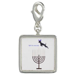 Hanukkah Menorah Poodle Dog Reindeer Candles Photo Charms