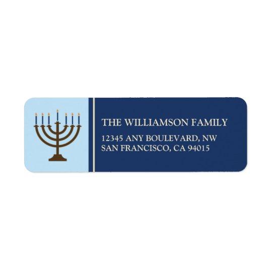 Hanukkah Menorah Return Address Labels (navy)