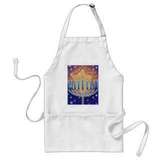 Hanukkah Menorah & Snowy Window Kitchen Apron