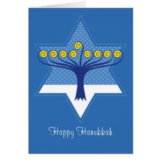 Hanukkah Menorah Tree in Star of David Card