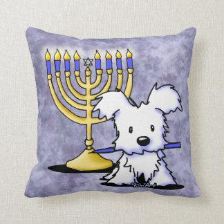Hanukkah Menorah Westie Throw Pillow