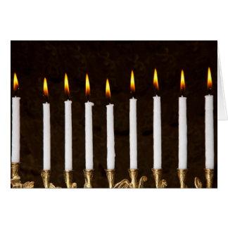 Hanukkah Menorah with Burning Candles Card