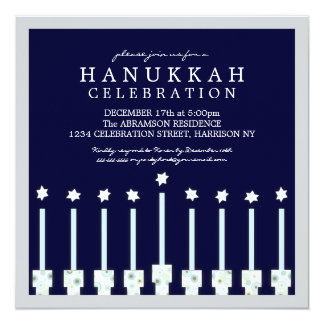 Hanukkah Menorah with Candles in Polka Dot Card