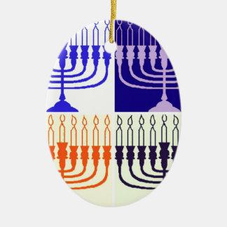 Hanukkah Minorah Ceramic Ornament