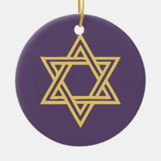 Hanukkah Motif purple Ornament 1