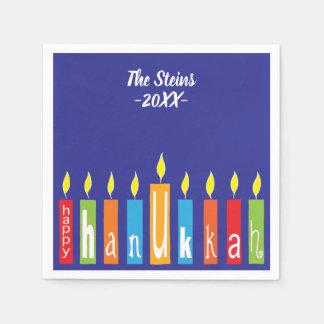 "Hanukkah Napkins Personalize ""Hanukkah Candles"" Paper Napkins"
