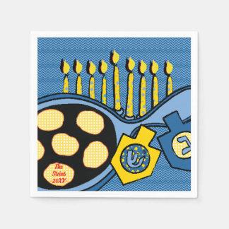 """Hanukkah Napkins Personalize """"Latkes & Lights"""" Disposable Napkin"""