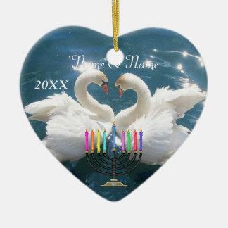 HANUKKAH Ornament 2014 Personalized Swan Couple