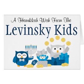 Hanukkah Owl Kids Card