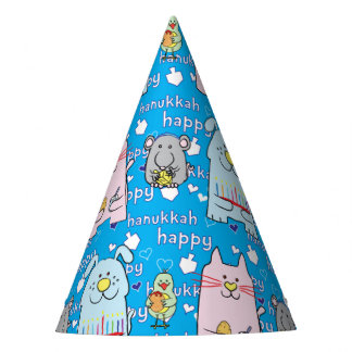 """Hanukkah Party Hat """"Dog, Cat, Mouse and Bird"""""""
