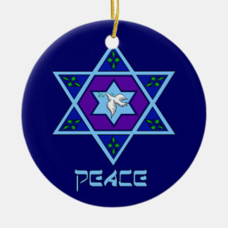 Hanukkah Peace Art Round Ceramic Ornament