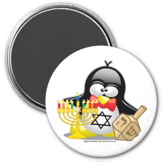 Hanukkah Penguin 3 Inch Round Magnet