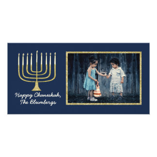 "Hanukkah Photo Card ""Elegant Menorah Blue"""
