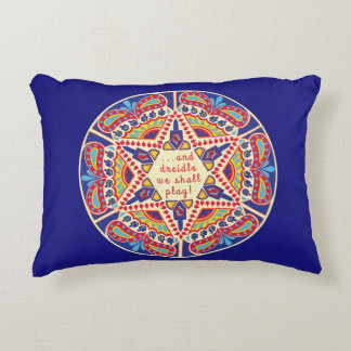 "Hanukkah Pillow ""Chanukah Paisley Dreidle Design"""