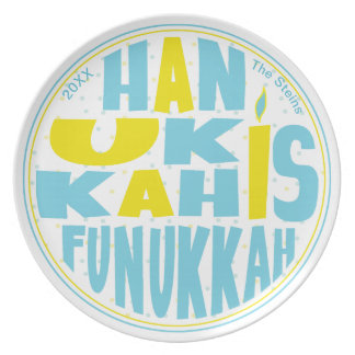 "Hanukkah Plate 10"" Round Blue/Yellow"