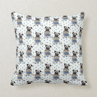 Hanukkah Pug and Menorah Throw Pillow