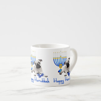 Hanukkah Pug with Menorah and Dreidels Espresso Cup
