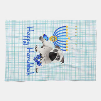 Hanukkah Pug with Menorah and Dreidels Kitchen Towel