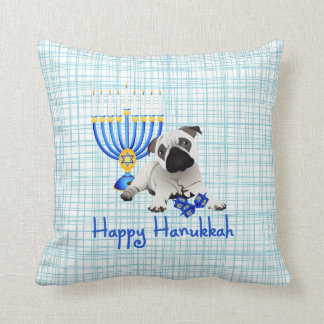 Hanukkah Pug with Menorah and Dreidels Throw Pillow