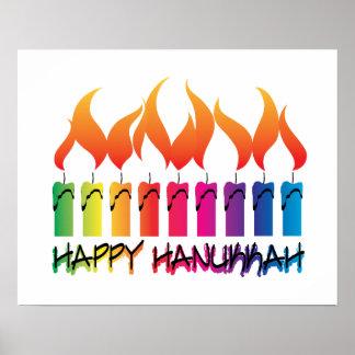 Hanukkah Rainbow Menorah Poster