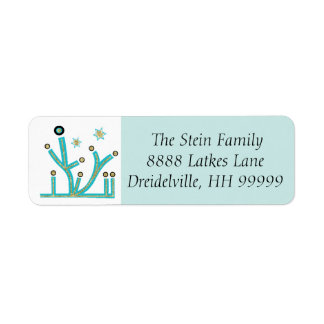 "Hanukkah Return Labels ""Menorah Bling Turquoise"""