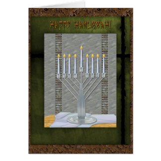 Hanukkah Rustic Art Deco MashUp (Personalized) Card