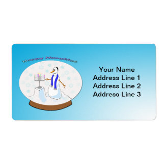 Hanukkah - Snow Globe Snowman Shipping Labels