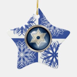 Hanukkah Snowflake Star of David Holiday Ceramic Ornament