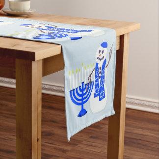 Hanukkah Snowman Cute Add Your Name Fun Holiday Long Table Runner