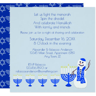Hanukkah Snowman Fun Family And Friends Holiday Card