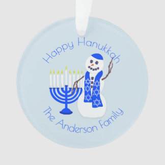 Hanukkah Snowman Menorah Chrismukkah Keepsake Ornament