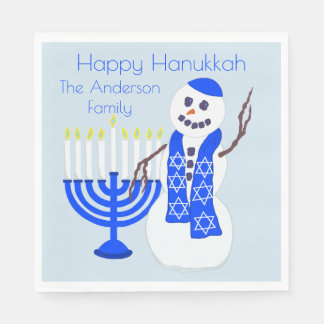 Hanukkah Snowman Or Fun Chrismukkah Party Cute Paper Napkin